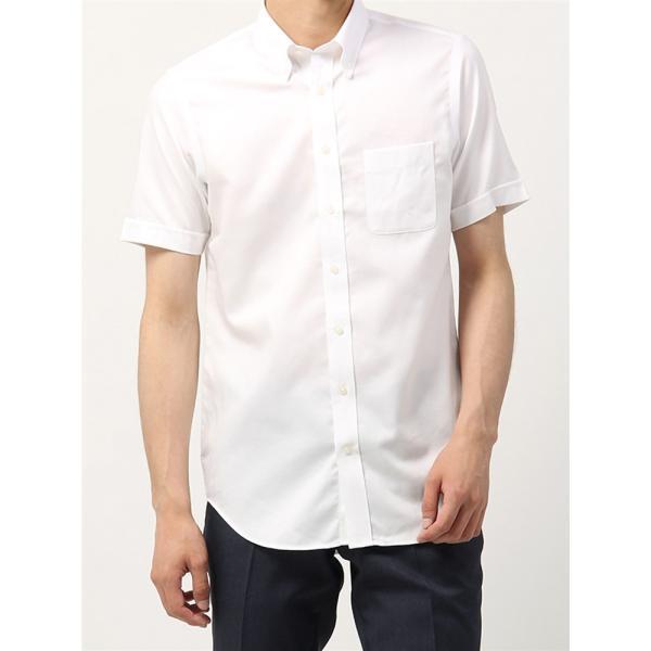 ドレスシャツ/半袖/メンズ/半袖・NON IRON STRETCH/ボタンダウンカラードレスシャツ織柄 〔EC・BASIC〕 ホワイト|uktsc|02