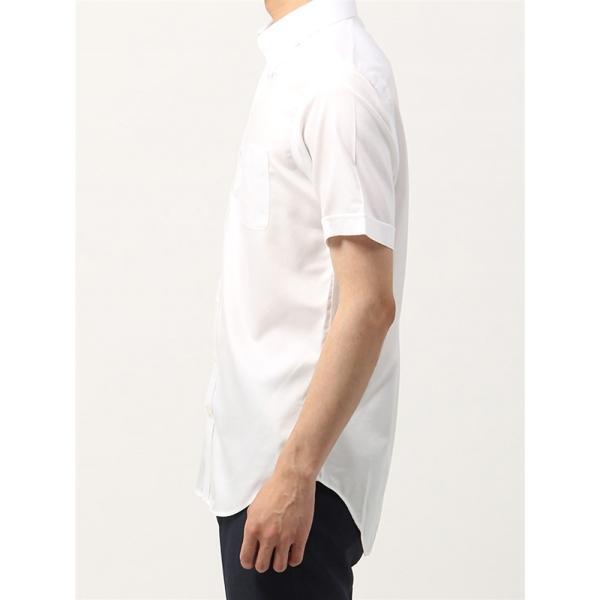ドレスシャツ/半袖/メンズ/半袖・NON IRON STRETCH/ボタンダウンカラードレスシャツ織柄 〔EC・BASIC〕 ホワイト|uktsc|03