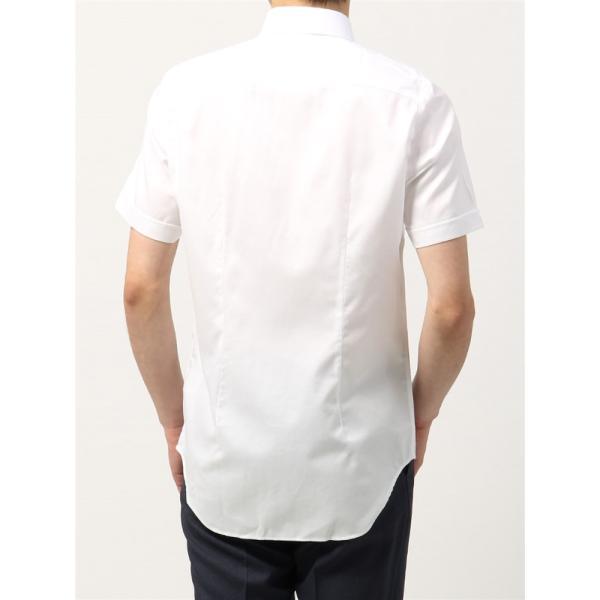 ドレスシャツ/半袖/メンズ/半袖・NON IRON STRETCH/ボタンダウンカラードレスシャツ織柄 〔EC・BASIC〕 ホワイト|uktsc|04