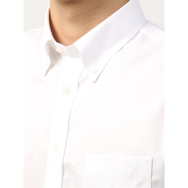 ドレスシャツ/半袖/メンズ/半袖・NON IRON STRETCH/ボタンダウンカラードレスシャツ織柄 〔EC・BASIC〕 ホワイト|uktsc|05