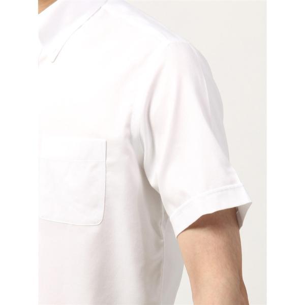 ドレスシャツ/半袖/メンズ/半袖・NON IRON STRETCH/ボタンダウンカラードレスシャツ織柄 〔EC・BASIC〕 ホワイト|uktsc|06