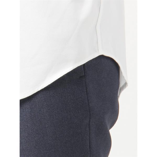 ドレスシャツ/半袖/メンズ/半袖・NON IRON STRETCH/ボタンダウンカラードレスシャツ織柄 〔EC・BASIC〕 ホワイト|uktsc|07