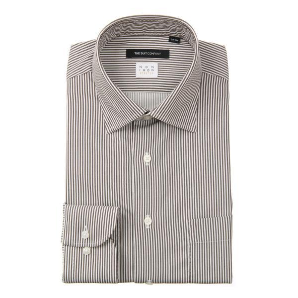 ドレスシャツ/長袖/メンズ/NON IRON STRETCH/ワイドカラードレスシャツ ストライプ 〔EC・BASIC〕 ブラウン×ホワイト uktsc