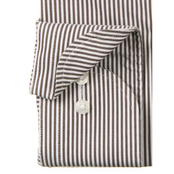 ドレスシャツ/長袖/メンズ/NON IRON STRETCH/ワイドカラードレスシャツ ストライプ 〔EC・BASIC〕 ブラウン×ホワイト uktsc 03