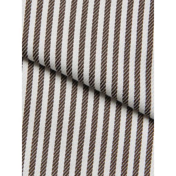ドレスシャツ/長袖/メンズ/NON IRON STRETCH/ワイドカラードレスシャツ ストライプ 〔EC・BASIC〕 ブラウン×ホワイト uktsc 04