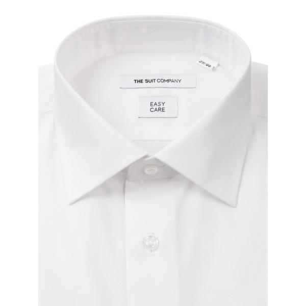 ドレスシャツ/長袖/メンズ/ワイドカラードレスシャツ 織柄 〔EC・FIT〕 ホワイト|uktsc|02