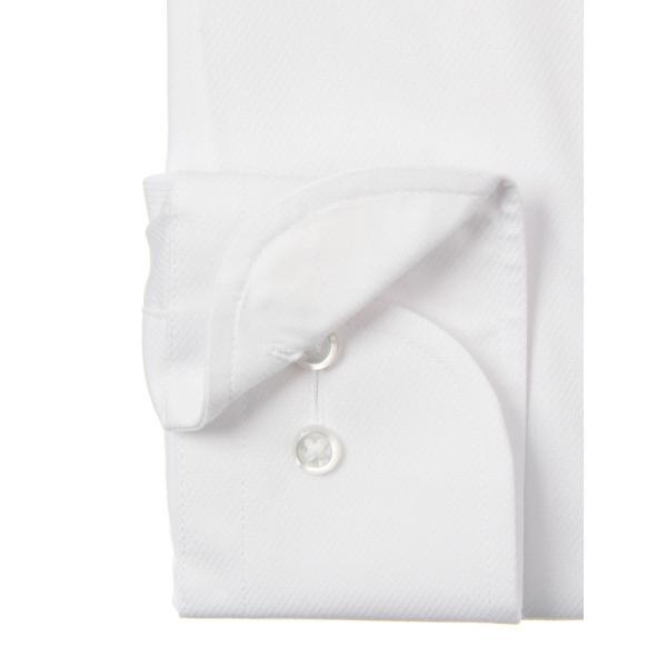 ドレスシャツ/長袖/メンズ/ワイドカラードレスシャツ 織柄 〔EC・FIT〕 ホワイト|uktsc|03