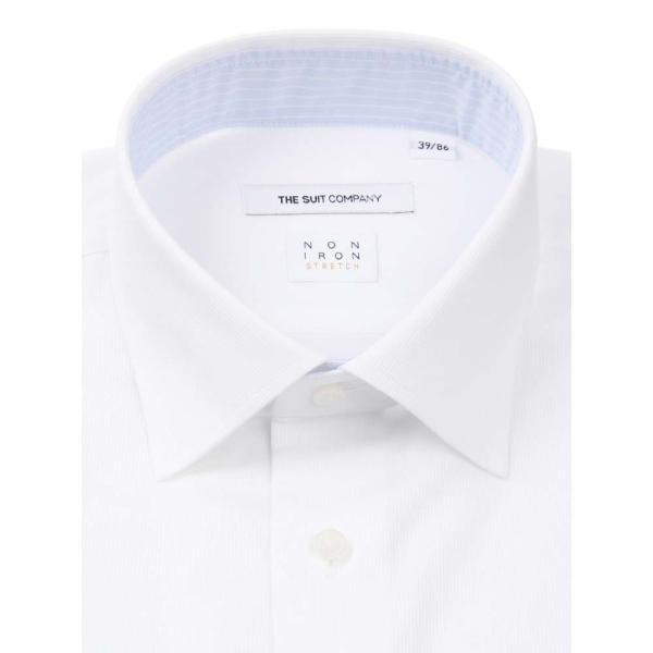 ドレスシャツ/長袖/メンズ/NON IRON STRETCH/ワイドカラードレスシャツ シャドーストライプ 〔EC・FIT〕 ホワイト|uktsc|02