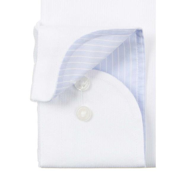 ドレスシャツ/長袖/メンズ/NON IRON STRETCH/ワイドカラードレスシャツ シャドーストライプ 〔EC・FIT〕 ホワイト|uktsc|03