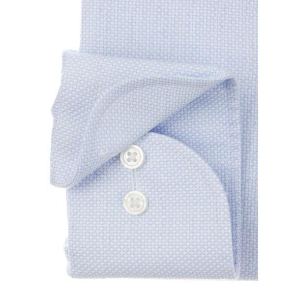 ドレスシャツ/長袖/メンズ/NON IRON STRETCH/ホリゾンタルカラードレスシャツ 織柄 〔EC・FIT〕 ホワイト×ブルー uktsc 03