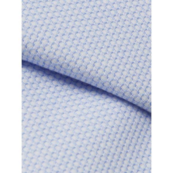 ドレスシャツ/長袖/メンズ/NON IRON STRETCH/ホリゾンタルカラードレスシャツ 織柄 〔EC・FIT〕 ホワイト×ブルー uktsc 04