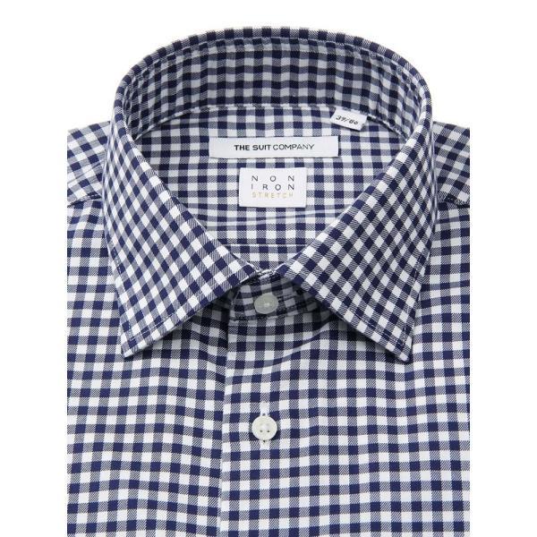 ドレスシャツ/長袖/メンズ/NON IRON STRETCH/ワイドカラードレスシャツ ギンガムチェック 〔EC・FIT〕 ネイビー×ホワイト|uktsc|02