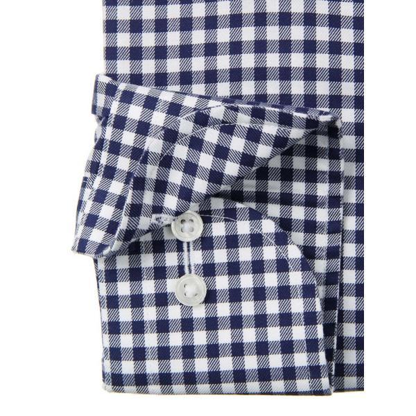 ドレスシャツ/長袖/メンズ/NON IRON STRETCH/ワイドカラードレスシャツ ギンガムチェック 〔EC・FIT〕 ネイビー×ホワイト|uktsc|03