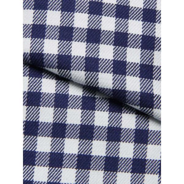 ドレスシャツ/長袖/メンズ/NON IRON STRETCH/ワイドカラードレスシャツ ギンガムチェック 〔EC・FIT〕 ネイビー×ホワイト|uktsc|04