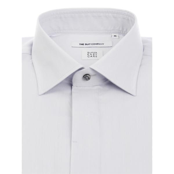 ドレスシャツ/長袖/メンズ/SUPER EASY CARE/ワイドカラードレスシャツ 無地 〔EC・FIT〕 ライトグレー|uktsc|02