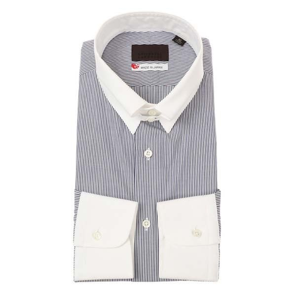 ドレスシャツ/長袖/メンズ/JAPAN MADE SHIRTS/クレリック&タブカラードレスシャツ ストライプ ネイビー×ホワイト uktsc