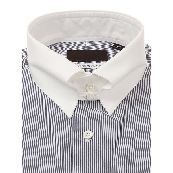 ドレスシャツ/長袖/メンズ/JAPAN MADE SHIRTS/クレリック&タブカラードレスシャツ ストライプ ネイビー×ホワイト uktsc 02