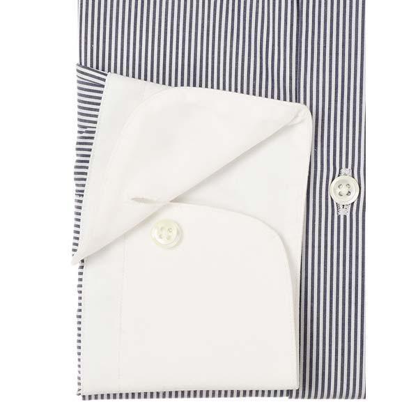 ドレスシャツ/長袖/メンズ/JAPAN MADE SHIRTS/クレリック&タブカラードレスシャツ ストライプ ネイビー×ホワイト uktsc 03