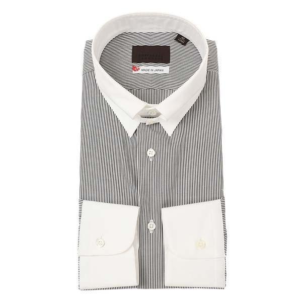 ドレスシャツ/長袖/メンズ/JAPAN MADE SHIRTS/クレリック&タブカラードレスシャツ ストライプ チャコールグレー×ホワイト uktsc