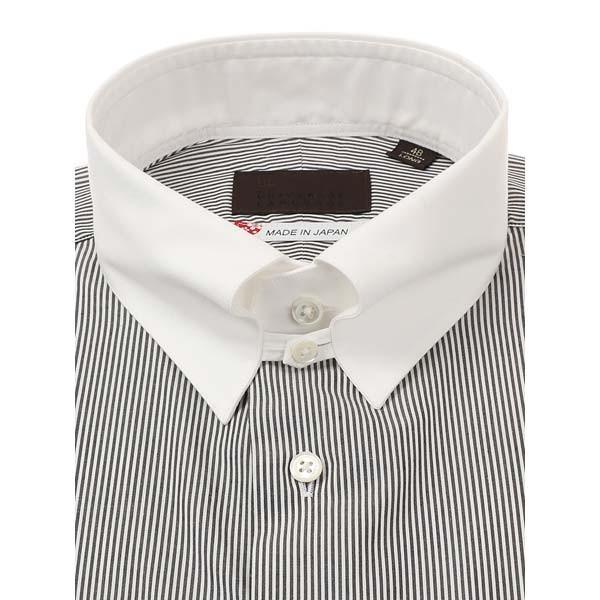 ドレスシャツ/長袖/メンズ/JAPAN MADE SHIRTS/クレリック&タブカラードレスシャツ ストライプ チャコールグレー×ホワイト uktsc 02