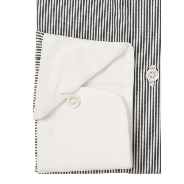 ドレスシャツ/長袖/メンズ/JAPAN MADE SHIRTS/クレリック&タブカラードレスシャツ ストライプ チャコールグレー×ホワイト uktsc 03