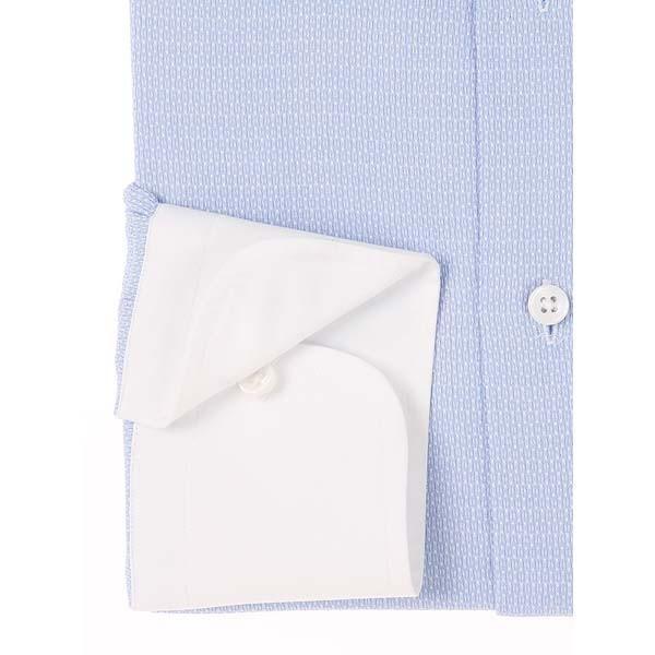 ドレスシャツ/長袖/メンズ/JAPAN QUALITY/クレリック&ワイドカラードレスシャツ 織柄 サックスブルー×ホワイト|uktsc|03