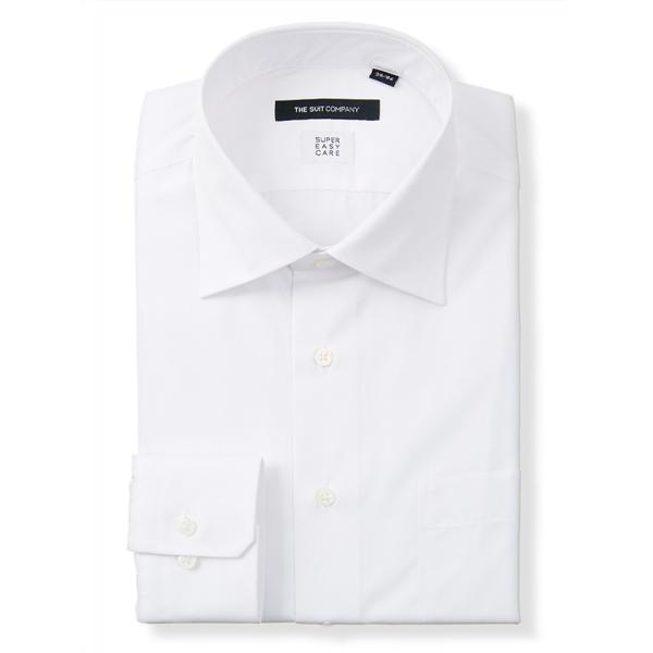 ドレスシャツ/長袖/メンズ/SUPER EASY CARE/ワイドカラードレスシャツ 無地 〔EC・BASIC〕 ホワイト|uktsc