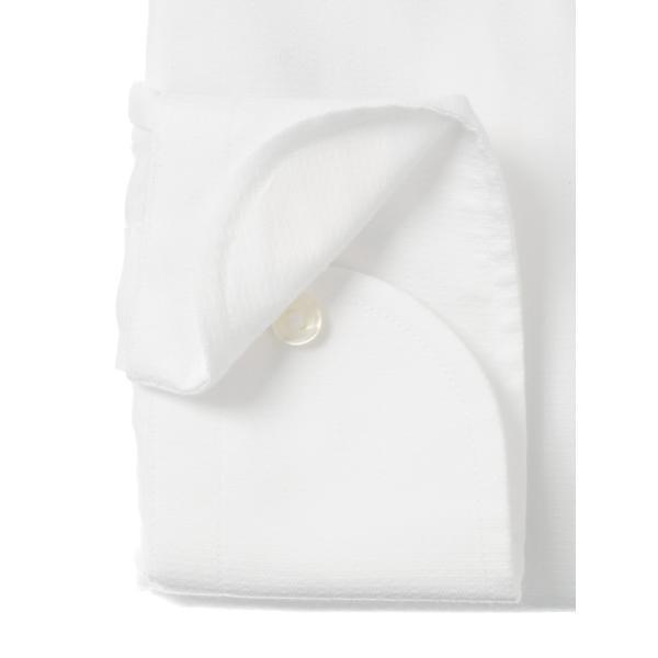 ドレスシャツ/長袖/メンズ/NON IRON STRETCH/ワイドカラードレスシャツ 織柄 〔EC・SLIM FIT〕 ホワイト|uktsc|03