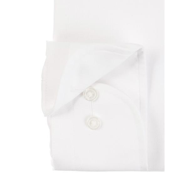 ドレスシャツ/長袖/メンズ/SUPER EASY CARE/ワイドカラードレスシャツ ヘリンボーン 〔EC・BASIC〕 ホワイト uktsc 03