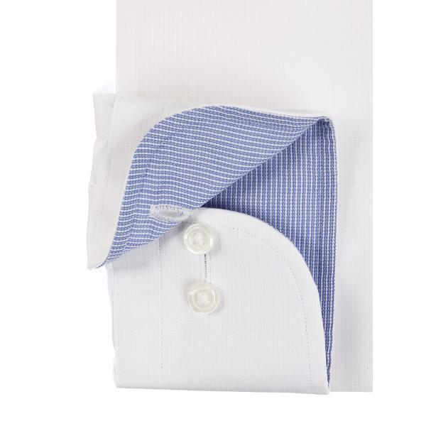 ドレスシャツ/長袖/メンズ/SUPER EASY CARE/ワイドカラードレスシャツ 織柄 〔EC・BASIC〕 ホワイト|uktsc|03