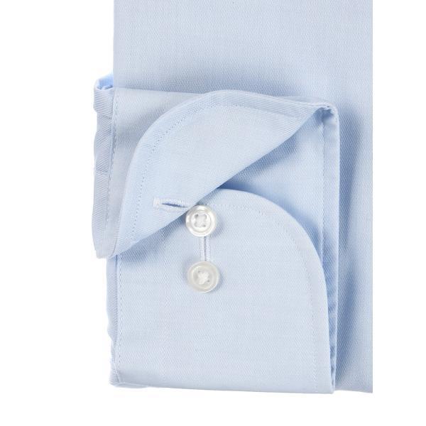 ドレスシャツ/長袖/メンズ/SUPER EASY CARE/ワイドカラードレスシャツ 無地 〔EC・BASIC〕 サックスブルー|uktsc|03