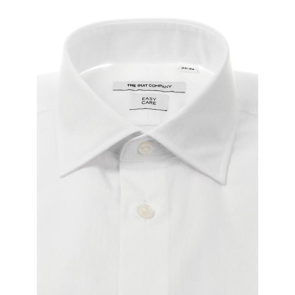 ドレスシャツ/長袖/メンズ/ワイドカラードレスシャツ シャドーストライプ 〔EC・FIT〕 ホワイト|uktsc|02