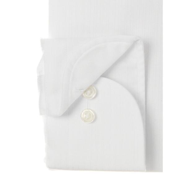 ドレスシャツ/長袖/メンズ/ワイドカラードレスシャツ シャドーストライプ 〔EC・FIT〕 ホワイト|uktsc|03