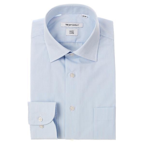 ドレスシャツ/長袖/メンズ/ワイドカラードレスシャツ ストライプ 〔EC・FIT〕 サックスブルー×ホワイト|uktsc
