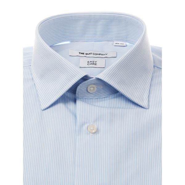 ドレスシャツ/長袖/メンズ/ワイドカラードレスシャツ ストライプ 〔EC・FIT〕 サックスブルー×ホワイト|uktsc|02