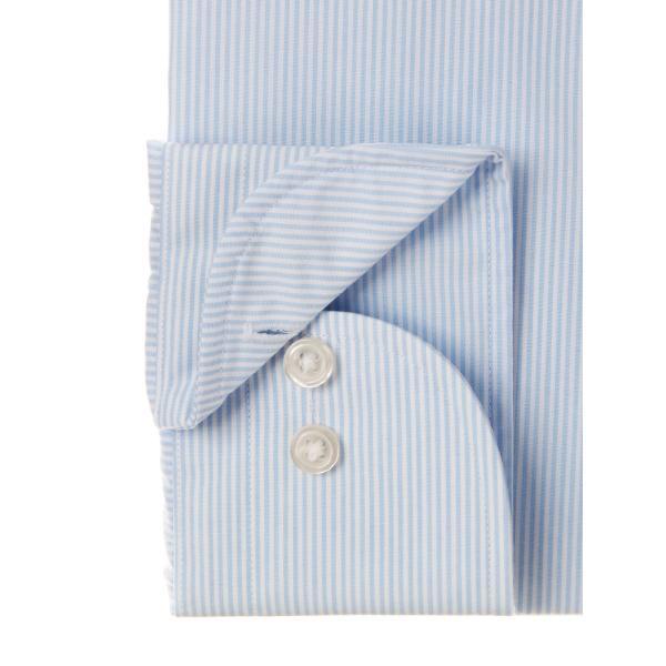 ドレスシャツ/長袖/メンズ/ワイドカラードレスシャツ ストライプ 〔EC・FIT〕 サックスブルー×ホワイト|uktsc|03