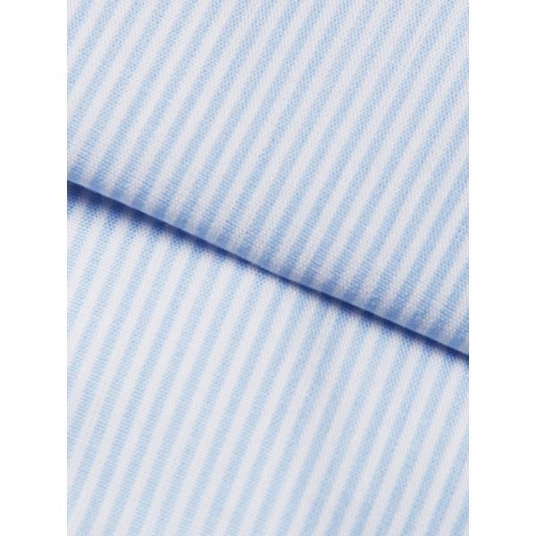 ドレスシャツ/長袖/メンズ/ワイドカラードレスシャツ ストライプ 〔EC・FIT〕 サックスブルー×ホワイト|uktsc|04