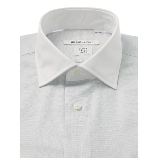 ドレスシャツ/長袖/メンズ/COOL MAX/クレリック&ワイドカラードレスシャツ 織柄 〔EC・FIT〕 ライトグレー×ホワイト|uktsc|02