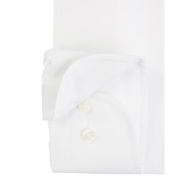 ドレスシャツ/長袖/メンズ/SUPER EASY CARE/ワイドカラードレスシャツ 織柄 〔EC・FIT〕 ホワイト|uktsc|03