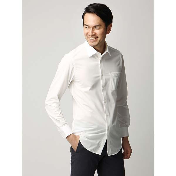 ドレスシャツ/長袖/メンズ/ジャージー素材/ワイドカラードレスシャツ 織柄 オフホワイト|uktsc|02