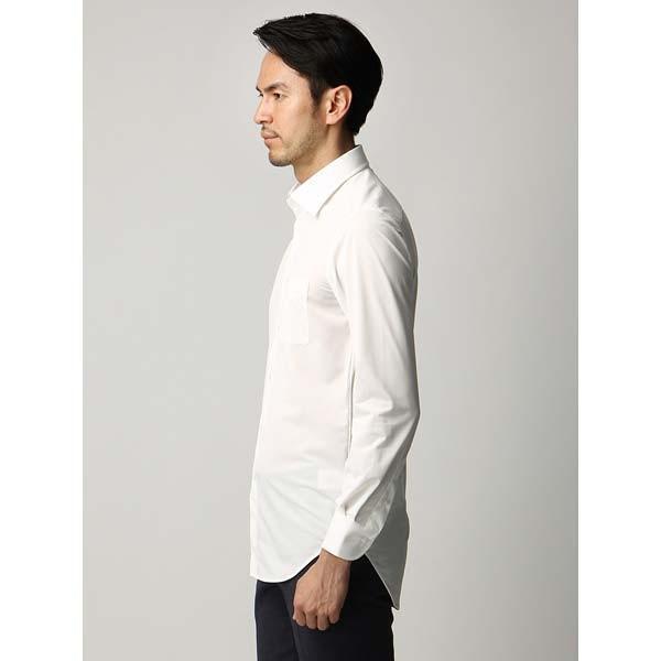 ドレスシャツ/長袖/メンズ/ジャージー素材/ワイドカラードレスシャツ 織柄 オフホワイト|uktsc|03