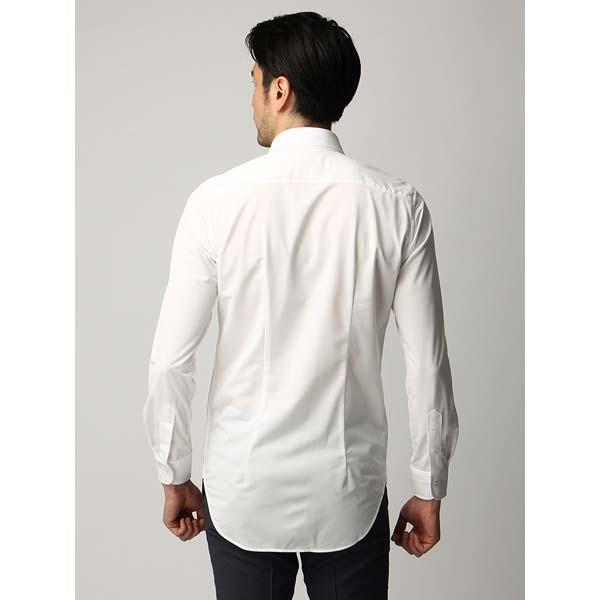 ドレスシャツ/長袖/メンズ/ジャージー素材/ワイドカラードレスシャツ 織柄 オフホワイト|uktsc|04