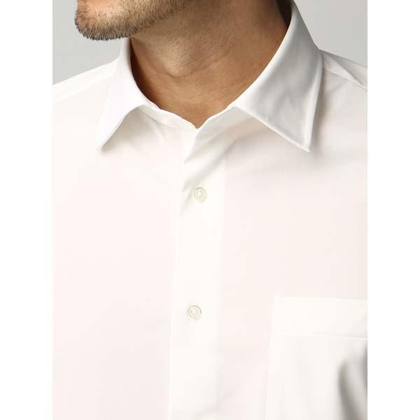 ドレスシャツ/長袖/メンズ/ジャージー素材/ワイドカラードレスシャツ 織柄 オフホワイト|uktsc|05