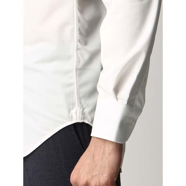 ドレスシャツ/長袖/メンズ/ジャージー素材/ワイドカラードレスシャツ 織柄 オフホワイト|uktsc|06