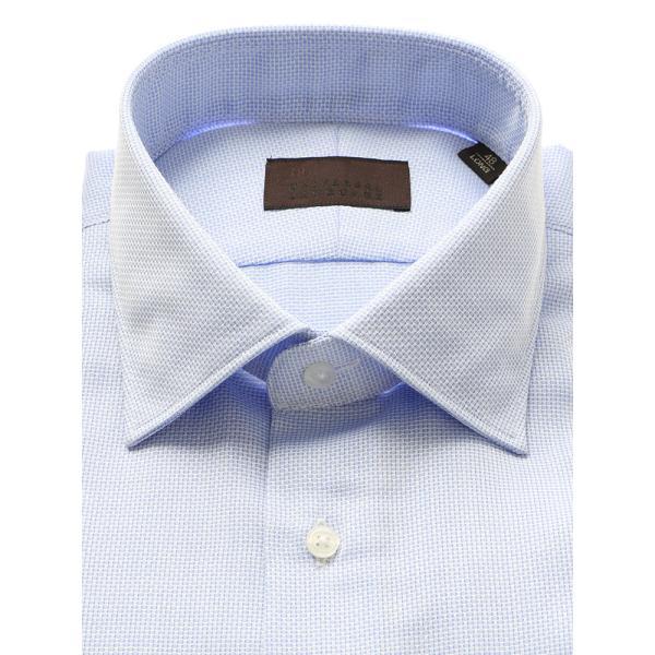 ドレスシャツ/長袖/メンズ/ICE COTTON/ワイドカラードレスシャツ 織柄 ブルー×ホワイト|uktsc|02