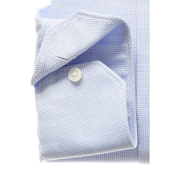 ドレスシャツ/長袖/メンズ/ICE COTTON/ワイドカラードレスシャツ 織柄 ブルー×ホワイト|uktsc|03