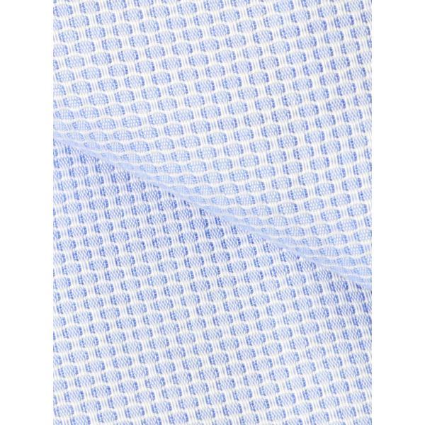 ドレスシャツ/長袖/メンズ/ICE COTTON/ワイドカラードレスシャツ 織柄 ブルー×ホワイト|uktsc|04