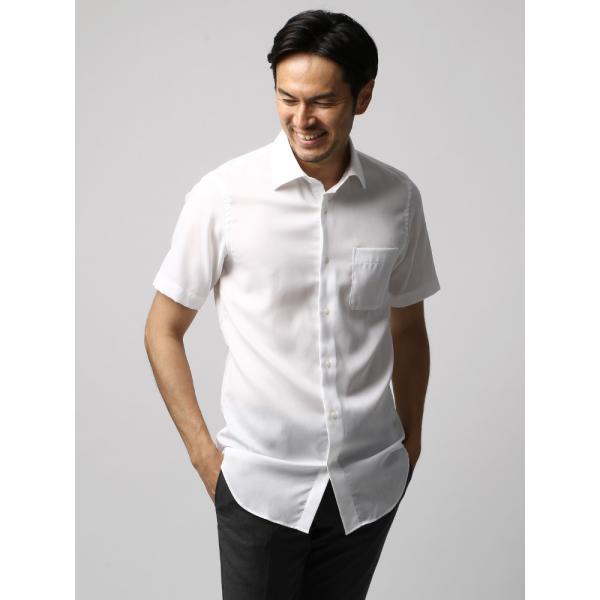 ドレスシャツ/長袖/メンズ/半袖・ICE COTTON/ワイドカラードレスシャツ 織柄 ホワイト uktsc 02