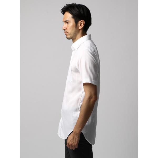 ドレスシャツ/長袖/メンズ/半袖・ICE COTTON/ワイドカラードレスシャツ 織柄 ホワイト uktsc 03