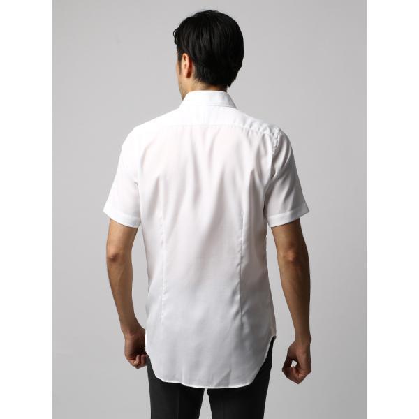 ドレスシャツ/長袖/メンズ/半袖・ICE COTTON/ワイドカラードレスシャツ 織柄 ホワイト uktsc 04